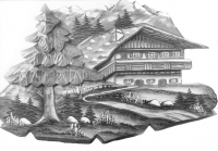 Relief countryside, wooden blank, 37 cm